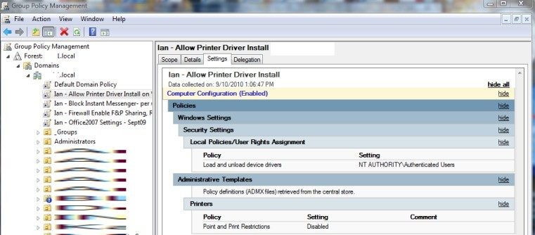 Install printer without admin rights windows 10 gpo | No