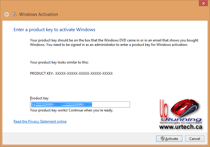 enter product key windows 8