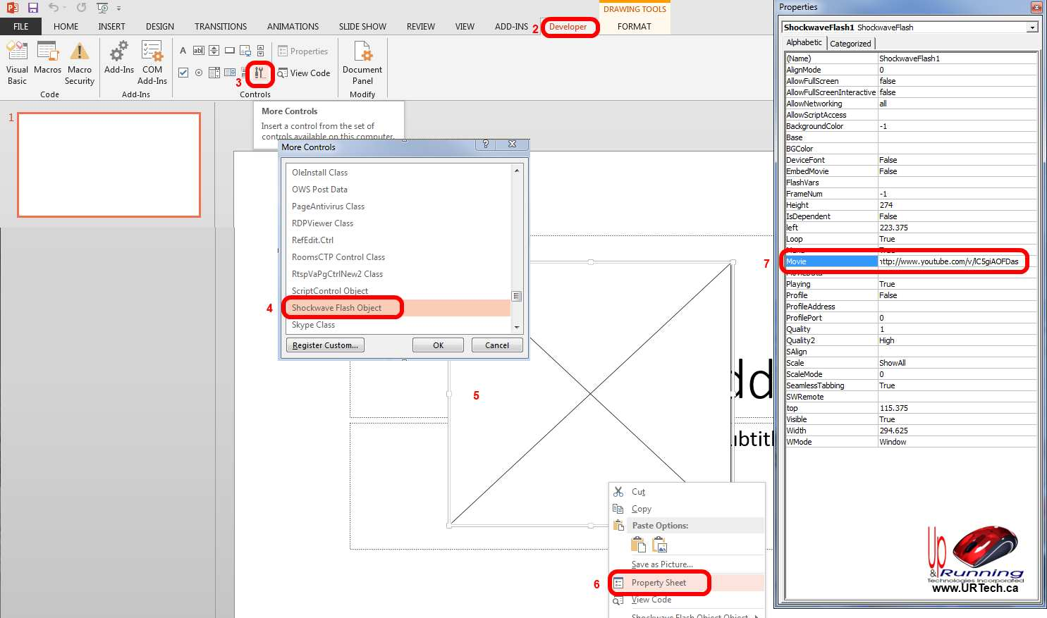 Solved can not embed video in powerpoint 2013 up running click the developer tab how to embed youtube into powerpoint 2013 properties ccuart Gallery