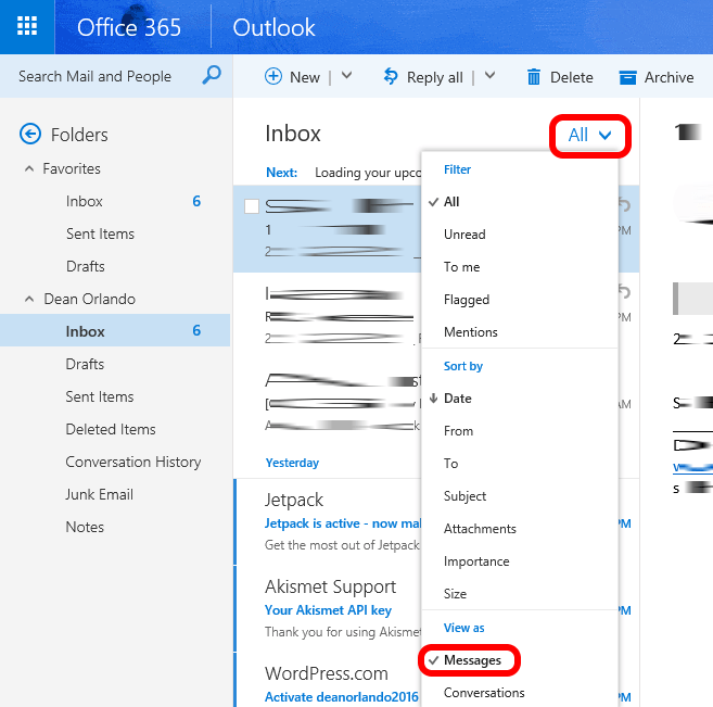 solved how disable conversation view in office365 webmail owa and