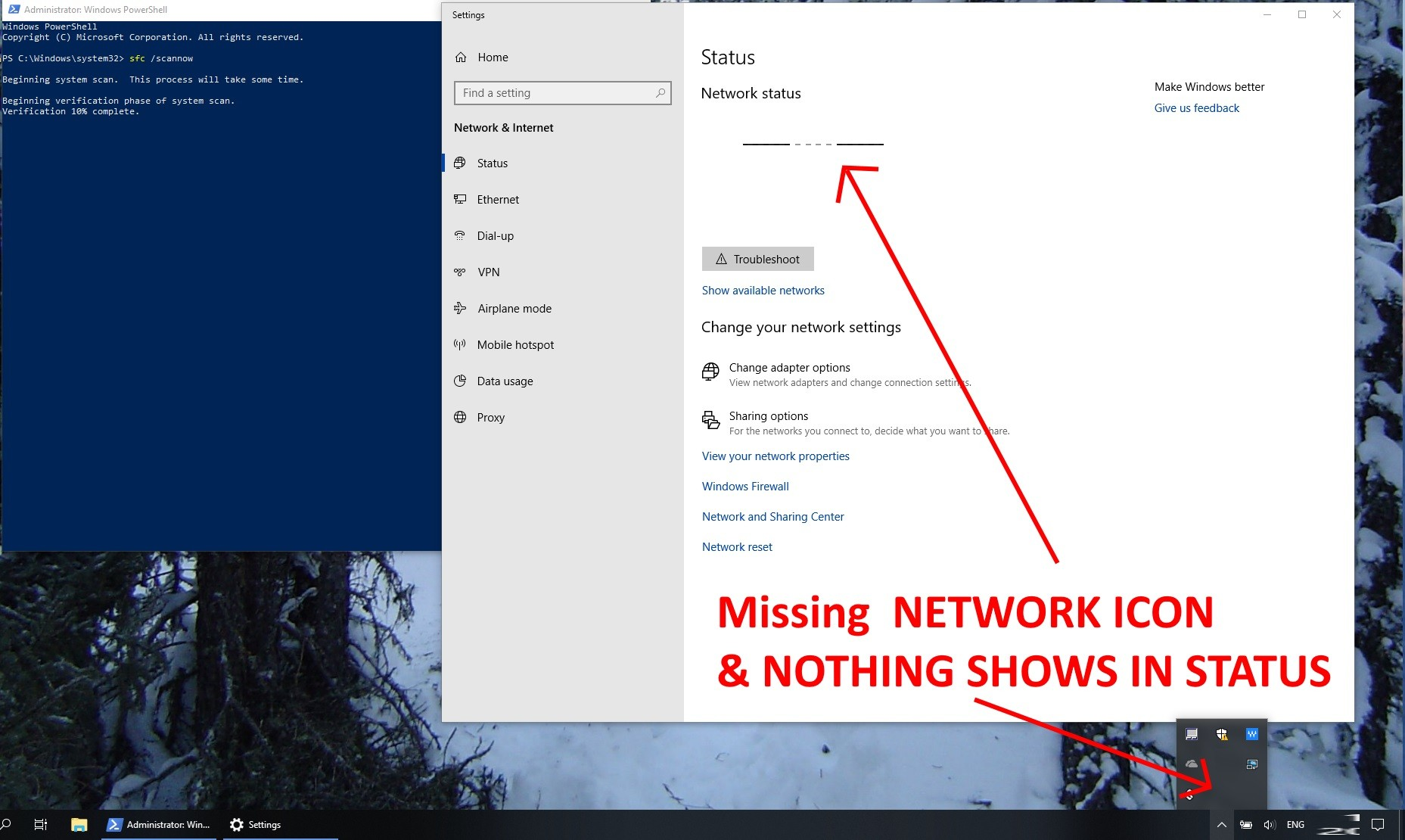 Network Icon Missing From System Tray Notification Area