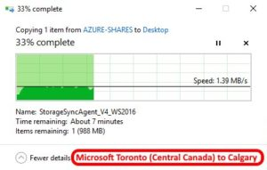Azure data center speed test - Toronto Central Canada to Calgary