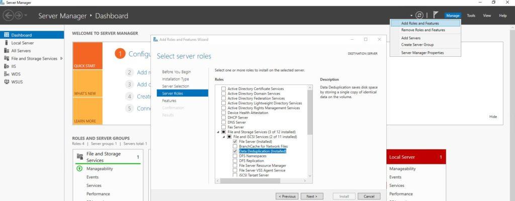 Install Data Deduplication Console Server 2016