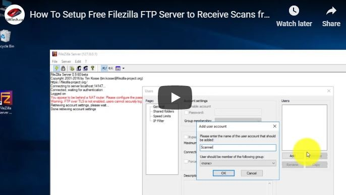 SOLVED: VIDEO: How To Setup Free Filezilla FTP Server to